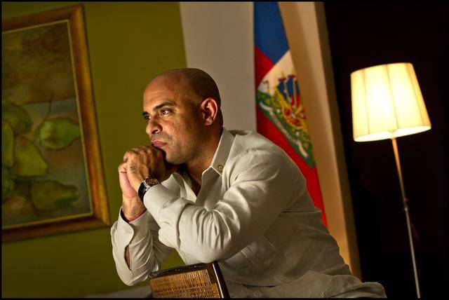 Laurent Lamothe with Haiti Flag
