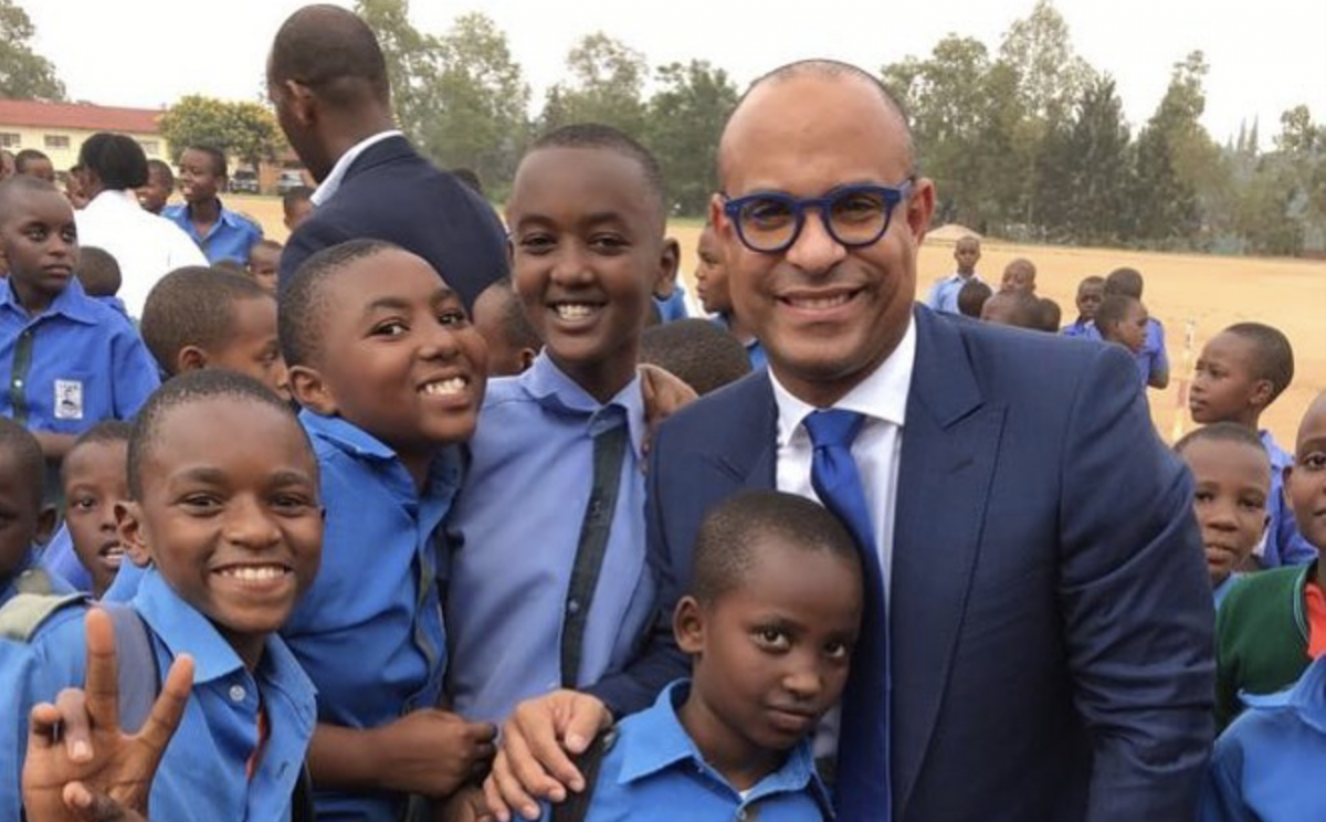 Laurent Lamothe in Haiti with school children